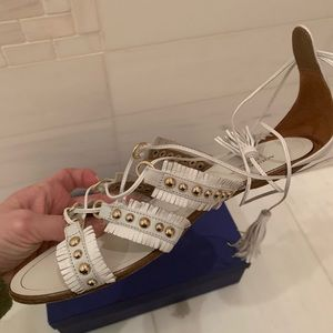 Aquazurra Tulum flat sandal in white